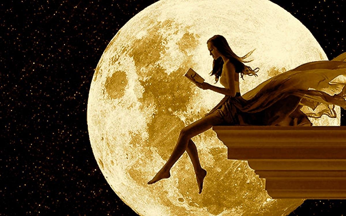 Открытки девушка на луне