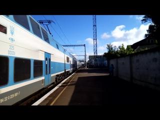 Отправление скоростного электропоезда EJ675-02 сообщением Харьков-Винница станция Полтава-Киевская