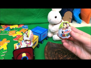 Peppa's Grandpa Train toy with ABC alphabet learning and Masha and the Bear Surprise Eggs