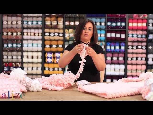 Alize Puffy ile Hasır Örgü Tekniği-Herringbone Knitting Technique with Alize Puffy