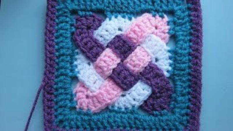 Quadrado em croche entrelaçado Celta