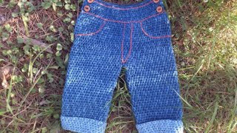 Pantalon Vaquero a ganchillo para bebé