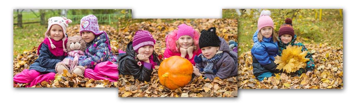 При заказе выпускной фотокниги для детского сада 6+ разворотов Вы получаете сезонную (осеннюю, зимнюю или весеннюю наВаш выбор) фотосессию вподарок!