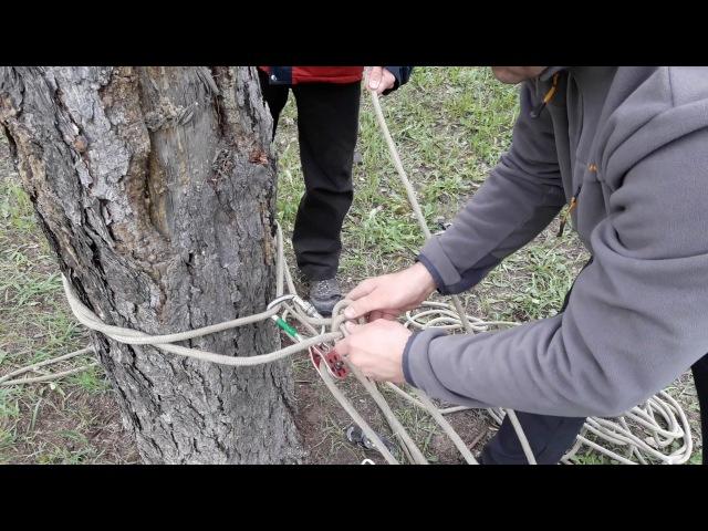 Как натянуть веревку системой полиспаст
