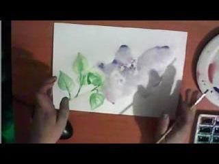 как нарисовать сирень акварелью