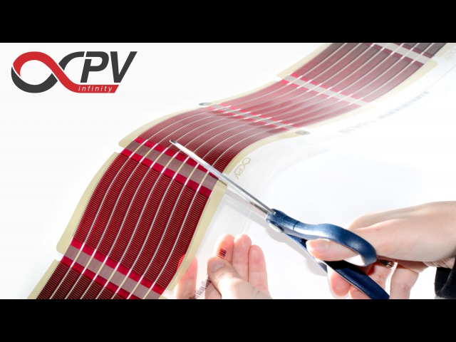 InfinityPV foil - printed organic solar cells - cutting electrical contacting DIY