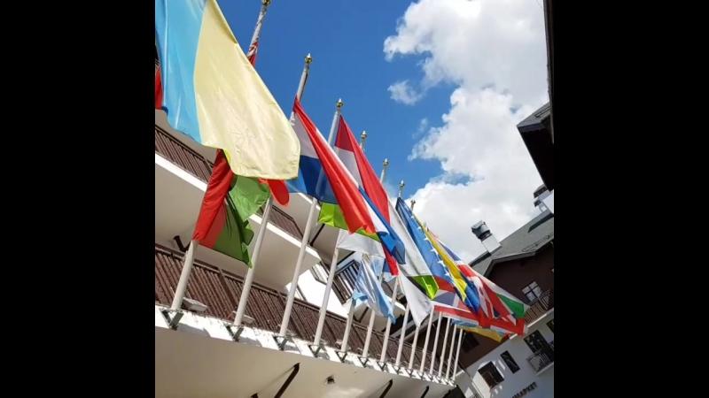 Аллея флагов. Олимпийская деревня. Июнь 2017
