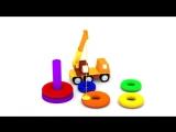 Мультики для малышей. 4 машинки. Маша, строительные машины и пирамида