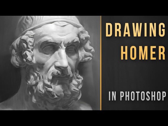 Bust of Homer Drawing in Photoshop / 3h timelapse