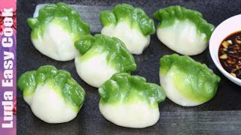 Вкусные ЦВЕТНЫЕ ПЕЛЬМЕНИ рецепт Китайские ПЕЛЬМЕНИ на пару - Spinach Green Dumpling làm Bánh há cảo