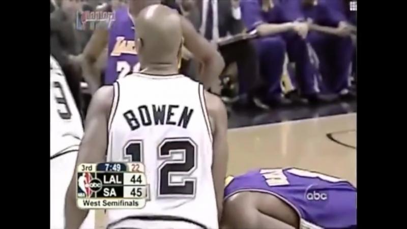 Защита Брюса Боуэна против Коби Брайанта в первой игре финала конференции в 2004 году с Lakers