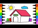 Teaching draw and Learn to draw a Dog House. Teach Drawing for Kids and Toddlers Coloring Page Video