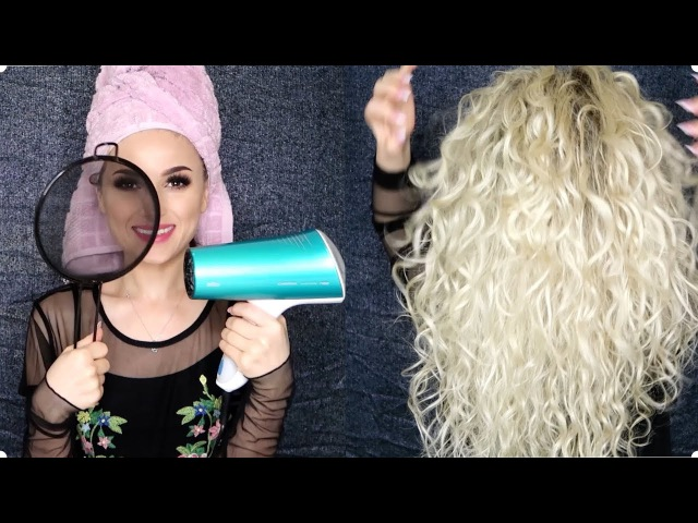 Drying my hair with a fine strainer for more defined curls!