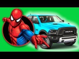 SPIDERMAN and SUPERHEROES driving CARS and flying on JETS. Kids Nursery Rhymes Learn Colors