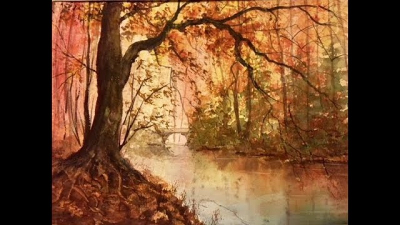 Осень, Ручей. Большое дерево. Акварель Autumn in watercolour. Trees stream