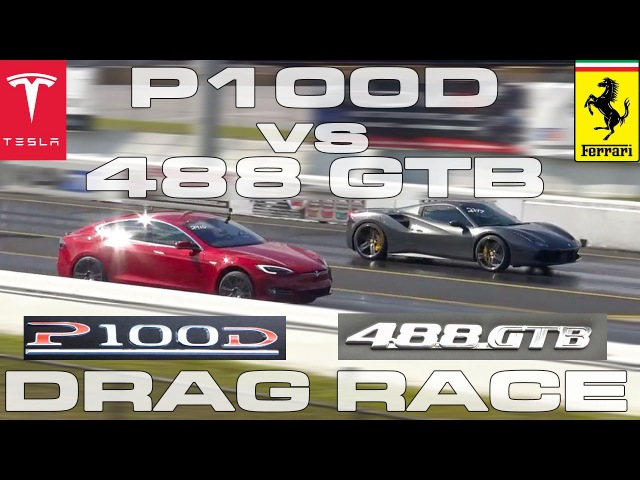 Tesla Model S P100D Ludicrous vs Ferrari 488 GTB Spider 1/4 Mile Drag Race