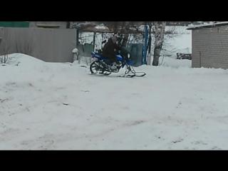 Самодельный снегоход из мопеда