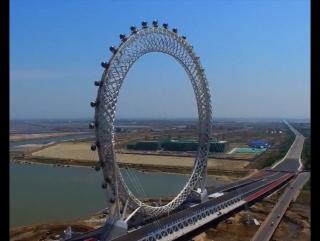 Aerial view_ worlds tallest spokeless Ferries wheel