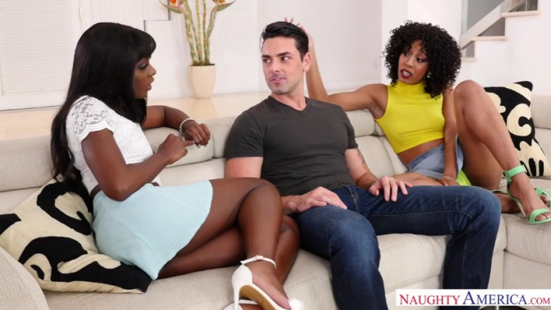 Ana Foxxx, Misty Stone Interracial, Natural Tits, Threesome, Porn black, межрасовое,