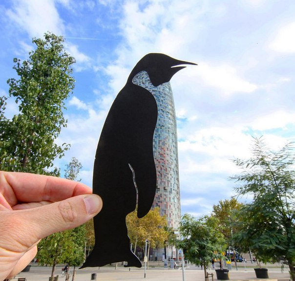Художник использует бумажные вырезки, чтобы сделать запоминающиеся