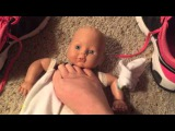 Girl shoes and bare feet on doll foot worship tram