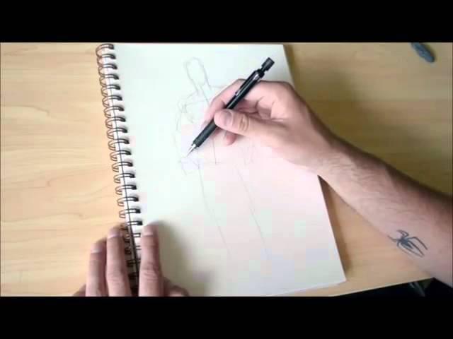 1) Набросок тела при помощи простых форм.