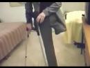 Amputee woman show empty pantsuit