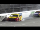 Logano spins after contact with Kyle Busch