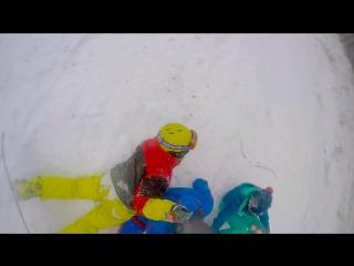 Крутое видео GoPro сноуборд вишневогорск 2016-2017. Гора вишневая. Травма колена.