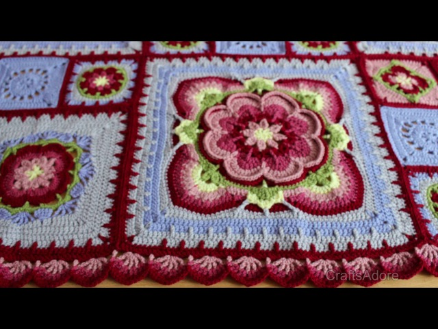 My Rose of Avalon Crochet Blanket Ta-Dah Vlog - Pattern by Helen Shrimpton Deramores