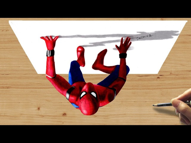 3D Colored Pencil Drawing of Spiderman: Homecoming - Speed Draw   Jasmina Susak