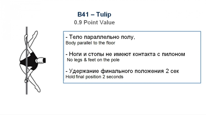 B41 - TULIP - (0.9) - CODE OF POINTS (POSA-Pole Sports World Arts Federation)