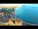 Судак, Крым Генуэзская крепость 4K Черное море, пляж, аэросъемка