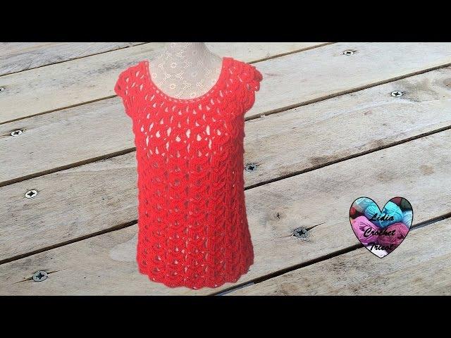 Blouse top femme crochet toutes tailles / Women blouse all sizes (english subtitles)