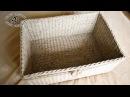Плетем прочное прямоугольное дно от центра из газетных трубочек