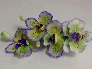 Заколка Орхидея с фоамирана