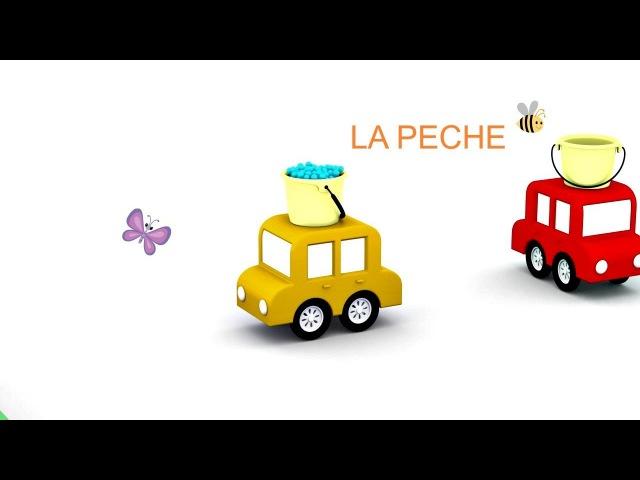 Piscine pour poissons🐟🐠🐡 Dessin animé de 4voitures colorées 4cars en français pour enfants
