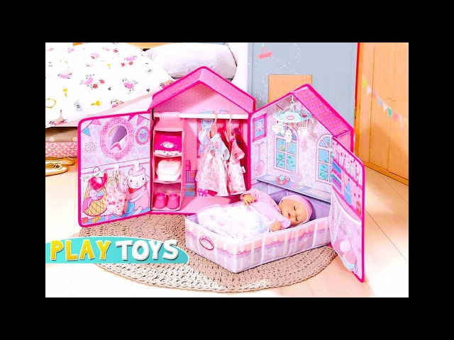 Baby Doll Bedroom House toy set - Play Baby Annabell Baby Born closet dress up, doll bed, stroller