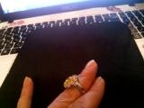 Размер 17, 5. Кольцо с золотым цитрином и цирконием