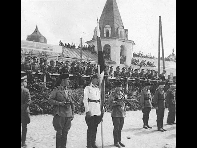 Парад предателей 1-й бригады РОА в захваченном немецкими фашистами Пскове, 1943