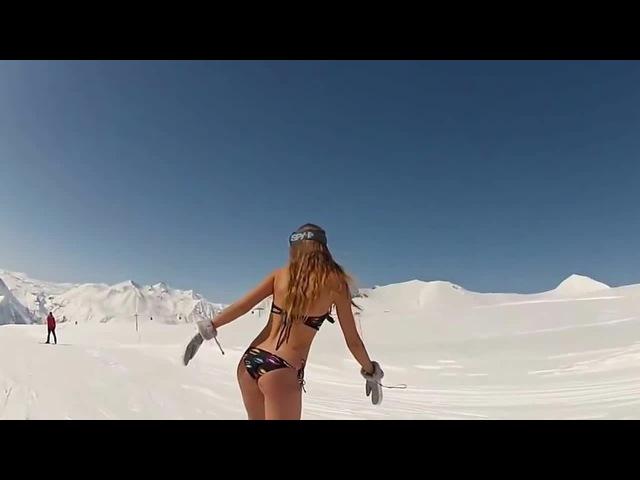 ❤Girls Girls Girls❤ - Прикол;) Даша в бикини на сноуборде Гудаури(Грузия)