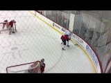 Nathan Walker vs. Alex Chiasson in a small ice battle drill at Caps camp