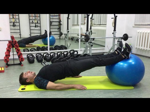 Сгибание ног лежа на фитболе Упражнение для задней части бедра