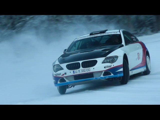 BMW 650i on ice Andi Aigner with studded tires