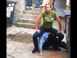 Little girl surrenders to the big girl