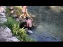 Сережка купается на плотине горной реки Псырдзха Абхазия