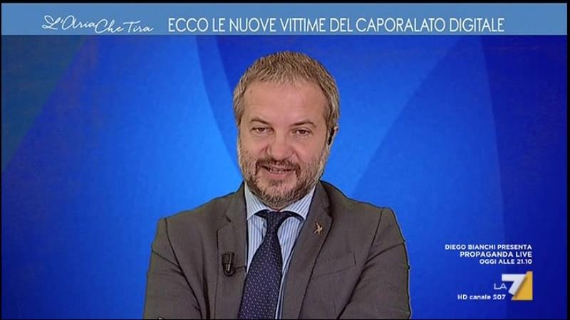 Prof. Claudio Borghi e Diego Fusaro a Laria che tira su La7 - 06102017