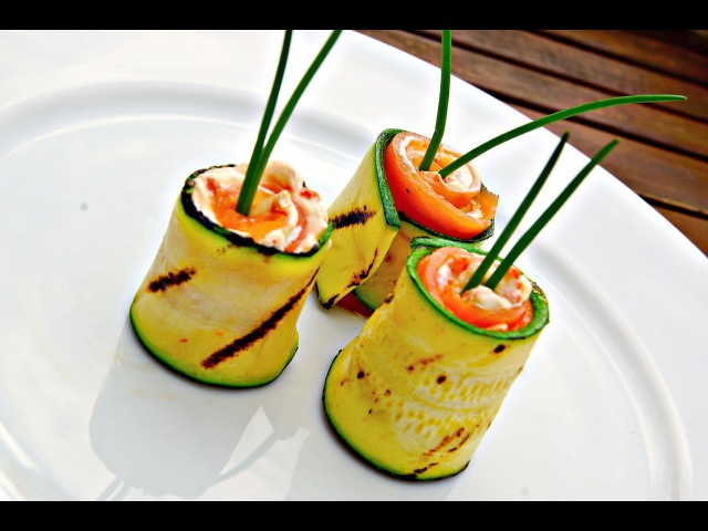 Grilled Zucchini and Smoked Salmon Rolls - Zucchini Video Recipe - Appetizer