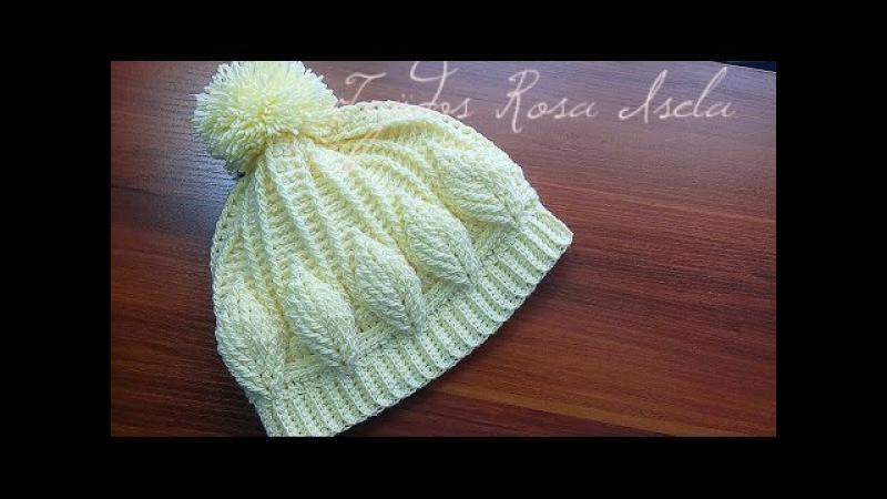 Gorro con hojas en relieve crochet