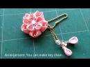 D.I.Y:make Tsumami Kanzashiつまみ細工 -cherry blossom(sakura) flower in CHIRIMEN,kimono fabric-Tutorial